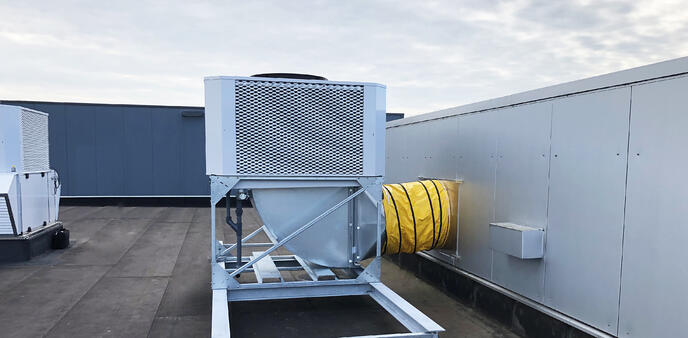 Dual-stage adiabatic cooling temporary